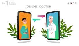 Online-doktorstecken eller tålmodig konsultation royaltyfri illustrationer