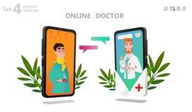 Online-doktorstecken - uppsättning, tålmodig konsultation stock illustrationer