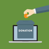 Online Donation Illustration. Businessman giving a dollar to donation box on laptop screen, online donation illustration Stock Photos