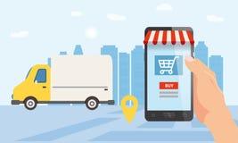 Online doręczeniowa usługa, tropi online tropiciela Ręka trzyma smartphone, ciężarówka, samochód, drobnicowa dostawa Internet ilustracji