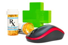 Online drugstore concept, computer mouse with drugs. 3D renderin. G isolated on white background Royalty Free Stock Images