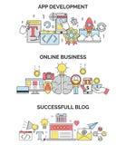 Online działalność biznesowa i app rozwoju ilustracje Obrazy Stock