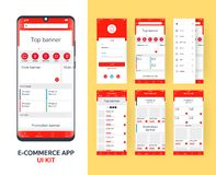 Online e-commerce app UI kit for responsive mobile app with different GUI layout including Login, main page, categories ,. Promotion page screens, red themes royalty free illustration