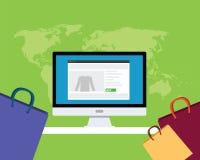 Online e-commerce concept. Computer shop shopping bag Stock Images