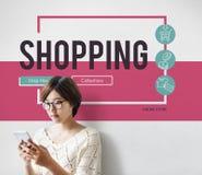 Online-E-kommers för shoppingvagn begrepp Arkivfoton