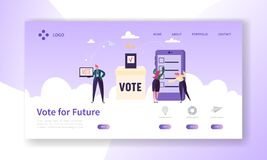 Online E-voting Registration Concept Landing Page. Man Voting in Democracy Government Electronic Election. Confidential Choice Smartphone Technology Website vector illustration
