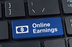 Online earnings computer keyboard button. Royalty Free Stock Images