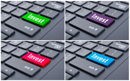 Online earnings with invest button Royalty Free Stock Image