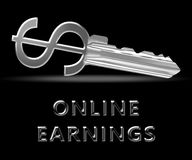 Online Earnings Means Internet Revenue 3d Illustration. Online Earnings Key Means Internet Revenue 3d Illustration Royalty Free Stock Photography