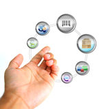 Online ecommerce concept. Hand holding a icons cycle Royalty Free Stock Photos