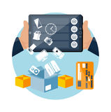 Online ecommerce technology internet shopping. Big sale icons online ecommerce technology concept internet shopping and delivery in flat design style. Goods Stock Photos