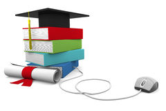 Online Education. On line Univesity concept. Distance Learning Courses and Degree Stock Photo