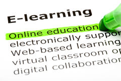 Online education. 'Online education' highlighted in green, under the heading 'E-learning Stock Photo