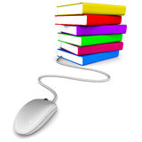 Online education. Books and mouse on white background, concept of online education, training and we based learning Stock Photography