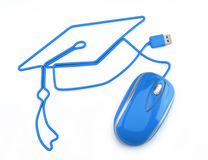 Online education. Or online degree concept. Blue mouse with cord in the shape of a graduation cap on a white background Royalty Free Stock Photography