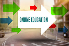 Online education against new york street Royalty Free Stock Photos
