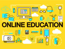 Online Education banner concept. E-learning. Thin Line icons. Vector Illustration.For web banners and promotional materials. Royalty Free Stock Photos