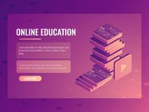 Online education banner, isometric vector electronic courses and tutorials, digital books. Online education banner, learning isometric vector electronic courses Stock Images