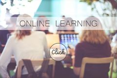 Online education banner over blur stdying people background, web Royalty Free Stock Images