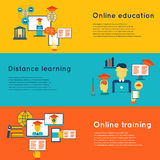 Online Education Banners Set Stock Images