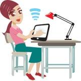 Online education cartoon Royalty Free Stock Photo
