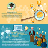 Online education college lectures students  banners. Science and education online education professor university college lectures study students teacher vector Royalty Free Stock Photo