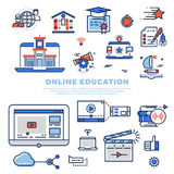 Online education colorful line icons and infographics  on white background. School and university education. Vector illustration Royalty Free Stock Photos