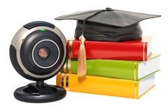 Online education concept, books with graduation cap with webcam,. 3D rendering isolated on white background Royalty Free Stock Photo