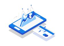 Online education concept. Coin drop in smartphone and in your card. Earn money. Isometric style Stock Image