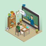Online education concept. In 3d isometric flat design Royalty Free Stock Photo