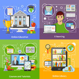 Online Education Concept 4 Flat Icons Royalty Free Stock Image