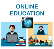 Online education concept with internet conference and satellite in cosmos Royalty Free Stock Photos
