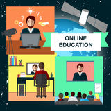 Online education concept with internet conference and satellite in cosmos. Vector illustration set Stock Images