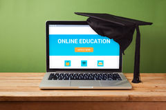 Online education concept with laptop computer Stock Photos