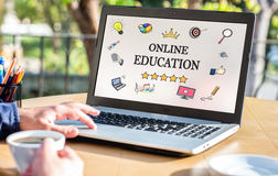Online Education Concept On Laptop Monitor. Online Education Concept With Various Hand Drawn Doodle Icons On Laptop Monitor Stock Photography