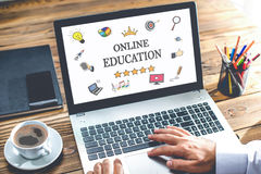 Online Education Concept On Laptop Monitor Stock Photography