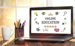 Online Education Concept On Laptop Screen. Online Education Concept On Laptop Monitor Royalty Free Stock Photography