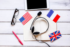 Online education concept in learning language lifestyle desk background top view Stock Images