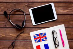 Online education concept in learning language lifestyle desk background top view Stock Photos
