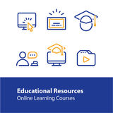 Online education concept line icons, internet learning courses, distant studying Stock Images