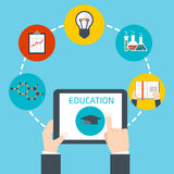 Online education concept. Man holding a tablet. Online education concept Stock Photo