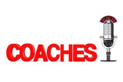 Online Education Concept. Red Coaches Sign with Microphone and O. N The Air Sign on a white background. 3d Rendering Stock Images