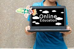 Online Education Concept. Rockets that are moving forward and messages royalty free stock image