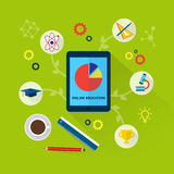 Online education concept with science icons Royalty Free Stock Photography