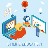 Online education. Concept of online education. Study distance by computing. Remotely and independently. Vector illustration Stock Image
