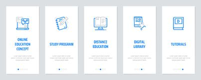 Online education concept, Study program, Distance education, Digital library, Tutorials Vertical Cards with strong. Metaphors. Template for website design Stock Photography