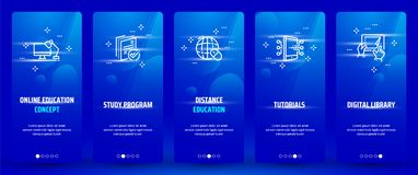 Online education concept, Study program, Distance education, Tutorials, Digital library Vertical Cards with strong. Metaphors. Template for website design Stock Images