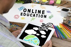 Online Education Concept With Various Hand Drawn Doodle Icons On paper stock illustration