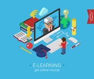 Online education course e-learning flat 3d isometric concept vector illustration