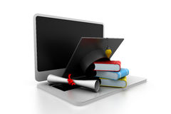 Online education. 3d illustration of Online education Royalty Free Stock Photo